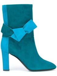 Pollini Bow Detail Boots Blue