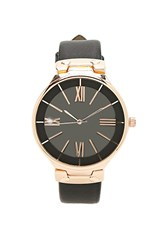 Forever 21 Faux Leather Analog Watch Black Rose Gold