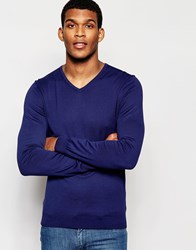United Colors Of Benetton 100 Cotton Knitted V Neck Jumper Blue