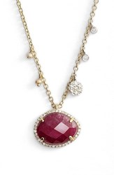 Women's Meira T Stone Pendant Necklace Yellow Gold Ruby
