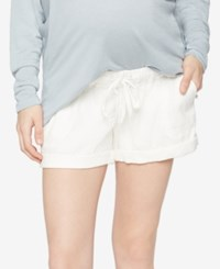 A Pea In The Pod Linen Maternity Shorts Ivory