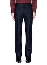 Givenchy Velvet Stripe Wool Pants Black