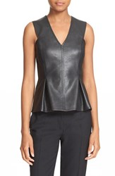 Rebecca Taylor Women's Sleeveless Faux Leather And Knit Top