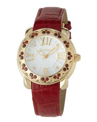 Escada Madison Gold Ip Watch W Garnet Bezel And Embossed Leather Strap Red