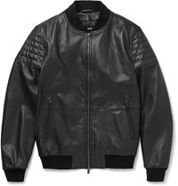 Hugo Boss Gevon Leather Biker Jacket Black