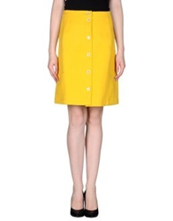 Fendi Knee Length Skirts Yellow