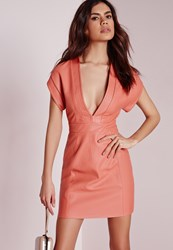 Missguided Faux Leather Bodycon Dress Salmon Salmon