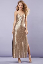 Forever 21 High Slit Sequined Maxi Dress Gold