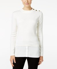 Calvin Klein Button Trim Layered Look Sweater Soft White