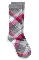 Wigwam 'Uptown Plaid' Moisture Wicking Crew Socks Pewter