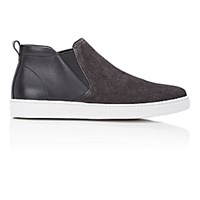 Prada Men's Mid Top Slip On Sneakers Dark Grey