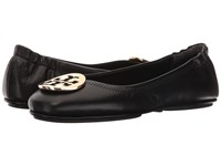 Tory Burch Minnie Travel Ballet Black Gold Women's Shoes