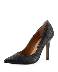 Kay Unger Aileen Reptile Print Leather Pump Black