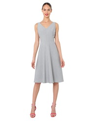 Isaac Mizrahi V Neck Fit And Flare Dress Grey