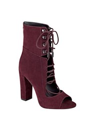 Kendall Kylie Ella Lace Up Booties Burgundy