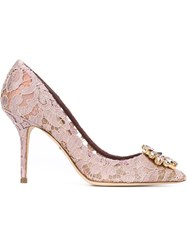 Dolce And Gabbana Embellished Lace Pumps Pink And Purple