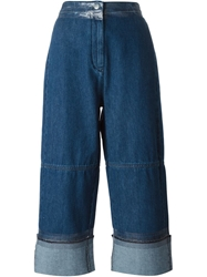 Mm6 By Maison Martin Margiela Cropped Wide Leg Jeans Blue