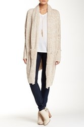 Love Stitch Long Sleeve Melange Shawl Collar Long Cardigan Beige