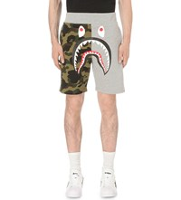 A Bathing Ape Camo Shark Print Woven Shorts Green