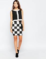 Daisy Street Skirt In Checker Board Print Blackwhite