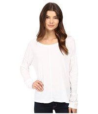 Heather Cotton Gauze Long Sleeve Boxy Tee White Women's T Shirt