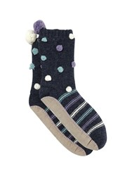 White Stuff Bobble And Stripe Slipper Sock Multi