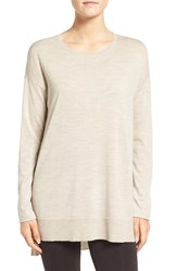 Eileen Fisher Women's Featherweight Merino Wool Crewneck Sweater Maple Oat