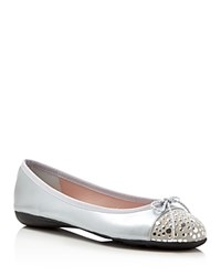 Paul Mayer Brill Brighton Metallic Studded Ballet Flats Silver Platinum