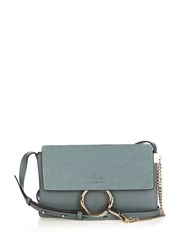 Chloe Faye Small Suede And Leather Shoulder Bag Light Blue