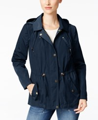 Charter Club Petite Water Resistant Hooded Utility Jacket Only At Macy's Intrepid Blue