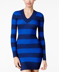 Planet Gold Juniors' Striped Sweater Dress Blue Black