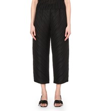 Issey Miyake High Rise Wide Leg Pleated Trousers Black