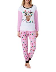 Sleeptease Holiday Printed Top And Pajama Pants Set Pink