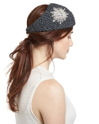 Jennifer Behr Embellished Wool Starburst Headband Graphite