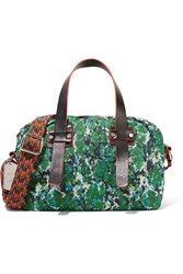M Missoni Leather Trimmed Printed Mesh Shoulder Bag Green
