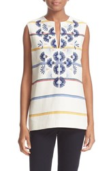 Tory Burch Women's 'Avery' Stripe Sleeveless Tunic New Ivory Deck Stripe