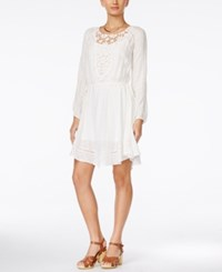 Alice Through The Looking Glass Juniors' Long Sleeve Lace Yoke A Line Dress White