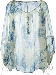 Philosophy Di Lorenzo Serafini Foliage Print Peasant Blouse Nude And Neutrals