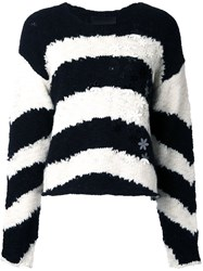 Jay Ahr Flowers Applique Striped Pullover Black