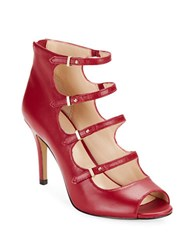 Karl Lagerfeld Bette Caged Leather Heels Ruby Red