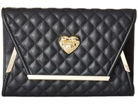 Love Moschino Envelope Clutch With Gold Detailing Black
