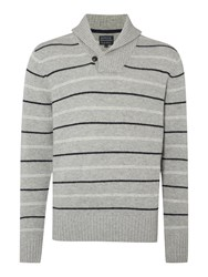 Howick Rockport Striped Shawl Neck Jumper Grey