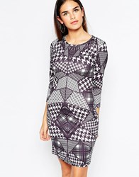 City Goddess Bodycon Dress In Houndstooth Check Placement Print Black