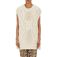 Dries Van Noten Women's Cashmere Merino Wool Oversized Sweater Cream