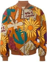 Jc De Castelbajac Vintage 'The Coyote And The Road Runner' Bomber Jacket Brown