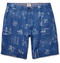 Faherty Printed Cotton And Linen Blend Shorts Blue