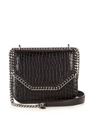 Stella Mccartney Falabella Crocodile Effect Faux Leather Box Bag Black