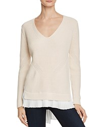 French Connection Taurus Knits Layered Look Sweater Classic Cream Winter White