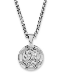 Macy's Men's St. Michael Diamond Pendant Necklace In Stainless Steel