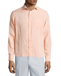 Neiman Marcus Linen Chambray Long Sleeve Button Front Shirt Apricot